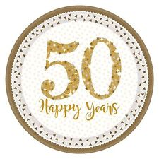 Round 50th Anniversary Plates - White & Gold - The Ultimate Party Shop