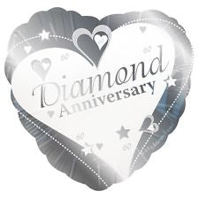 "18"" Foil Diamond Anniversary Heart Balloon"