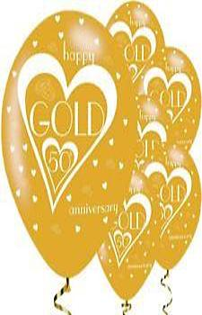 50th Wedding Anniversary Printed Balloons 6 Pack