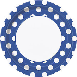 Round Spotty Plates - Blue - The Ultimate Party Shop