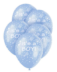 It's A Boy Blue Balloons 5 Pack