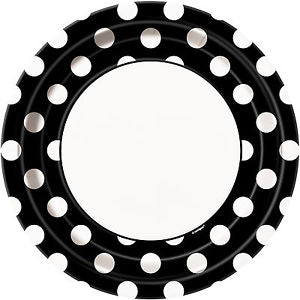 Round Spotty Plates - Black - The Ultimate Party Shop