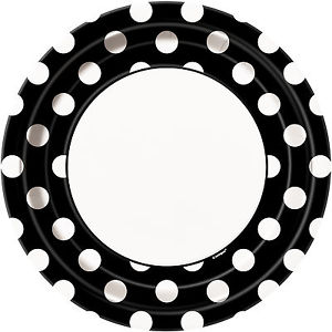 Round Spotty Plates - Black - The Ultimate Balloon & Party Shop