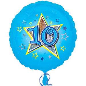"18"" Foil Age 10 Blue Balloon. - The Ultimate Party Shop"