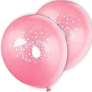 Baby Shower Pink Print Balloons 8 Pack