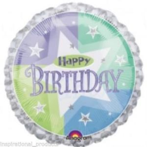 "18"" Foil Happy Birthday Blue/Green Sparkle"