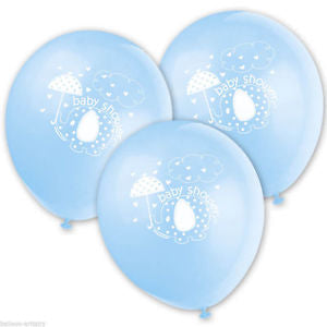 Baby Shower Blue Print Balloons 8 Pack
