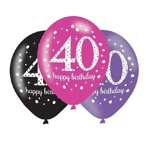 Age 40 Birthday Asst Colour Balloons 6 Pack - The Ultimate Party Shop