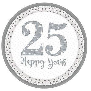 Round 25th Anniversary Plates - White & Silver - The Ultimate Balloon & Party Shop