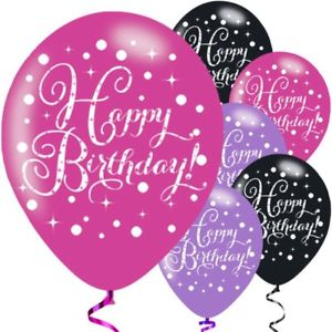 Happy Birthday Asst Colour Balloons 6 Pack - The Ultimate Balloon & Party Shop