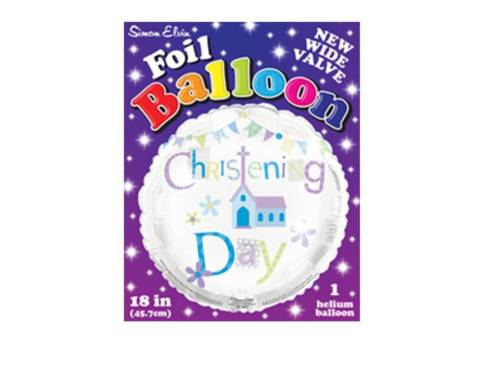 "18"" Foil Christening Day Blue Balloon - The Ultimate Balloon & Party Shop"