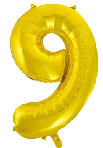 Number 9 Foil Balloon Gold - The Ultimate Party Shop