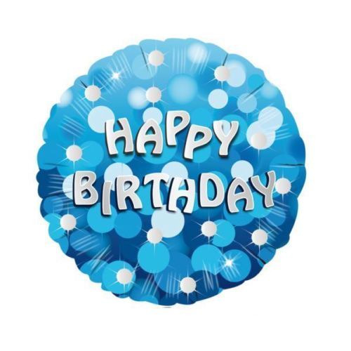 "18"" Foil Happy Birthday Blue Sparkle - The Ultimate Balloon & Party Shop"