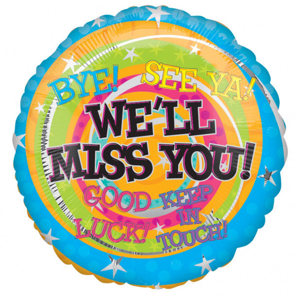 "18"" Foil We'll Miss You Bright Balloon - The Ultimate Party Shop"