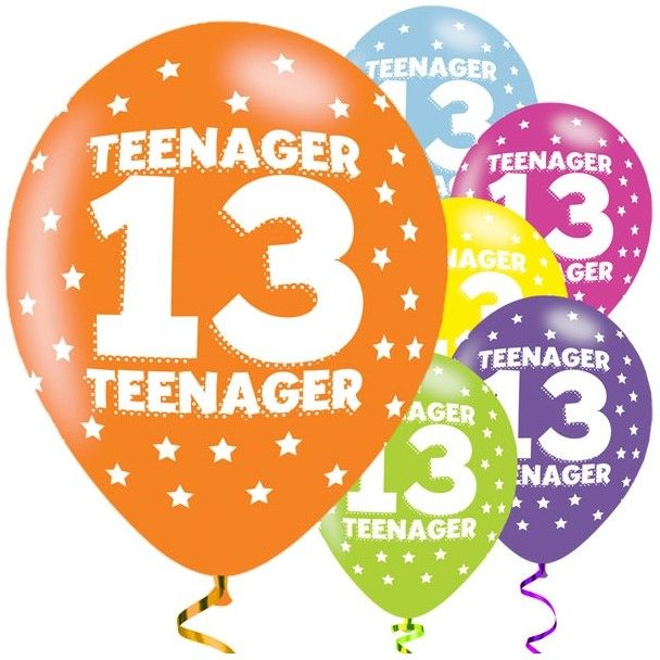 Age 13 Asst Birthday Balloons 6 Pack