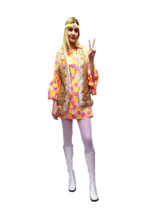 1960s Twiggy Dress Hire Costume - Pink - The Ultimate Party Shop