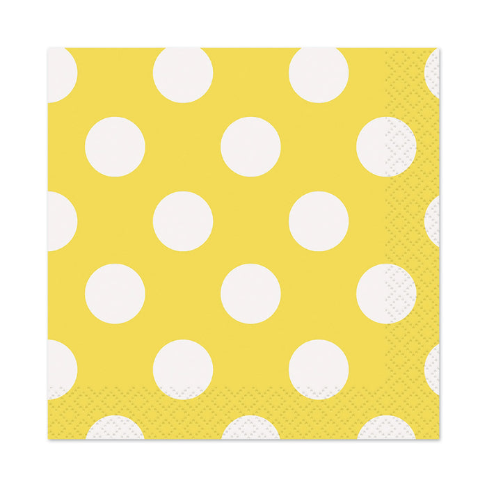 Polka Dot Yellow Napkins - The Ultimate Balloon & Party Shop