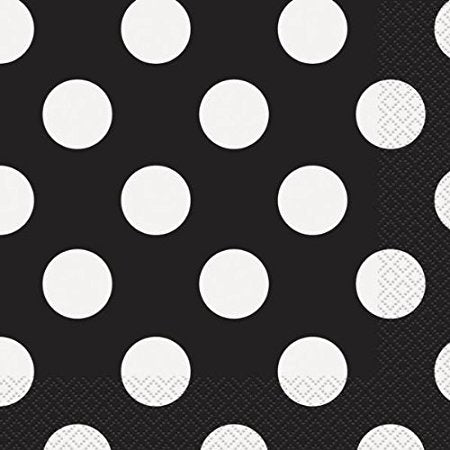 Polka Dot Black Napkins - The Ultimate Balloon & Party Shop