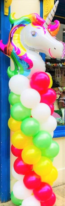 Rainbow Balloon Column with Unicorn Topper - The Ultimate Party Shop