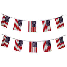 Material Flag Bunting - USA 3m - The Ultimate Balloon & Party Shop