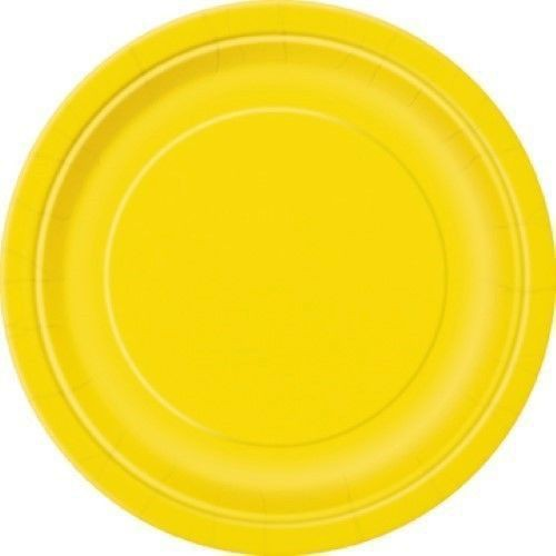 Round Paper Plates - Yellow - The Ultimate Balloon & Party Shop