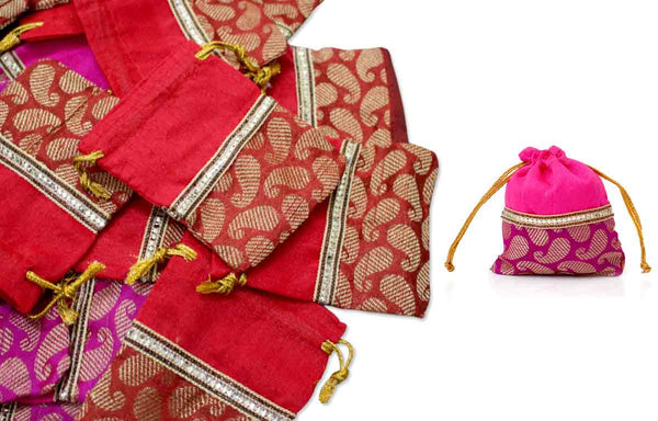 25 String pouch raw silk and mango design for 75th birthday