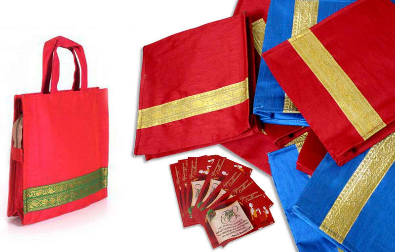 300 Jute and Raw Silk favor bag for Upanayanam
