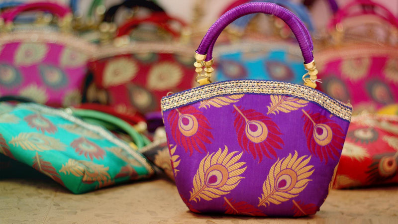 225 Peacock hand bags with zari for Arangetram