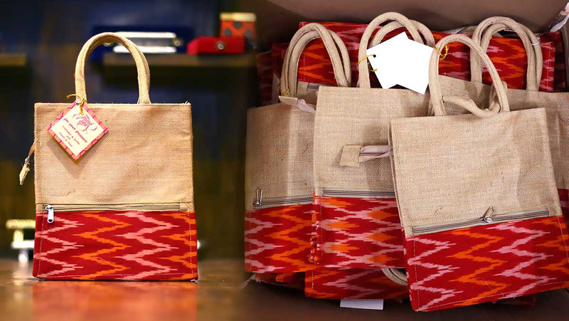 Jute Bag Ikkat Design as return gift from Wedtree