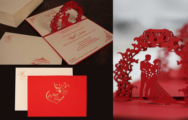 100 Customized Laser cut Invitations for a Wedding