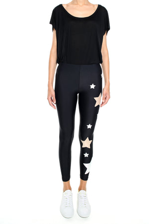 Leggings in lycra neri con stelle applicate rosa cipria