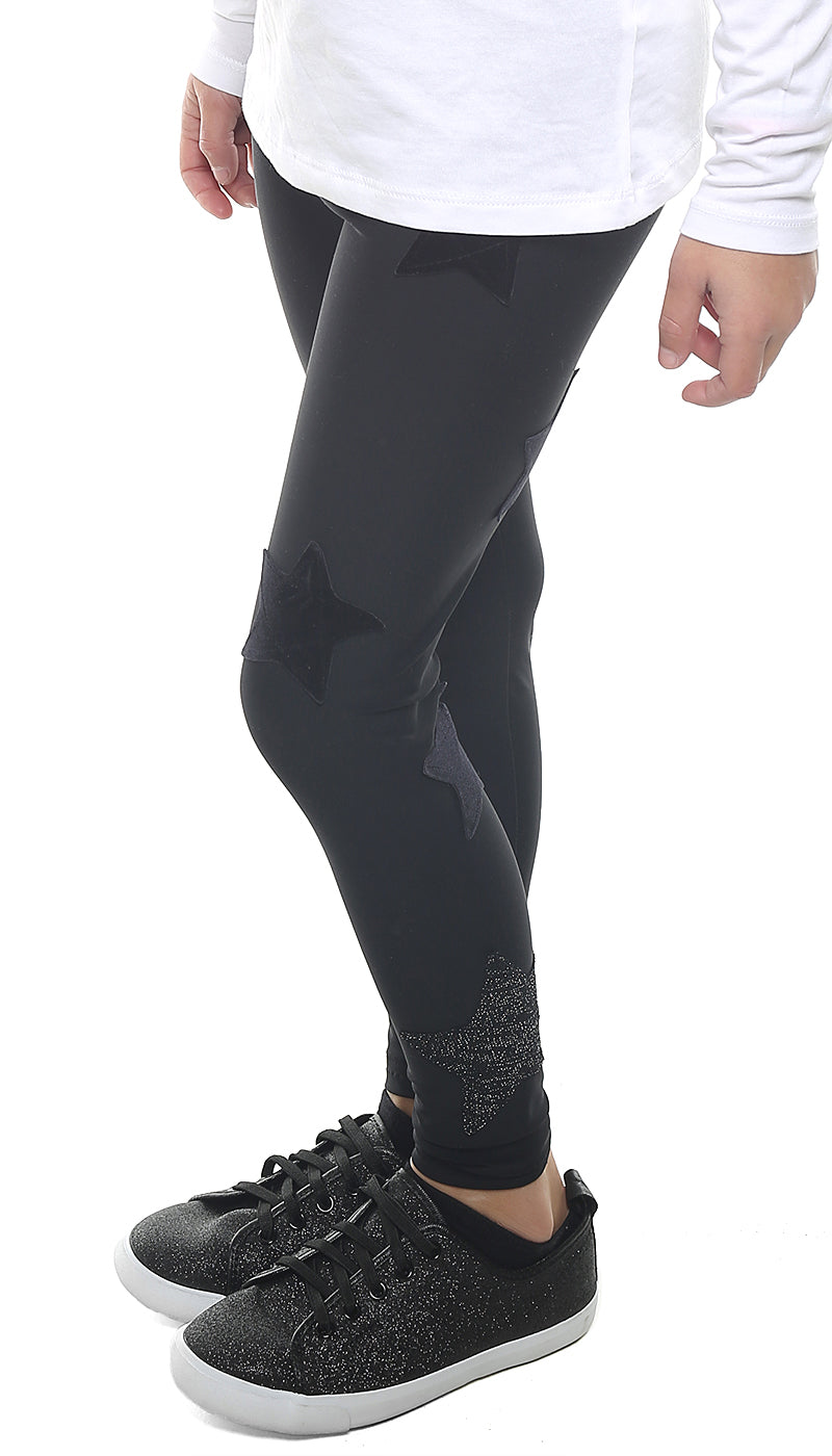 Leggings Bambina in lycra nero con stelle applicate di velluto nero e in lurex nero