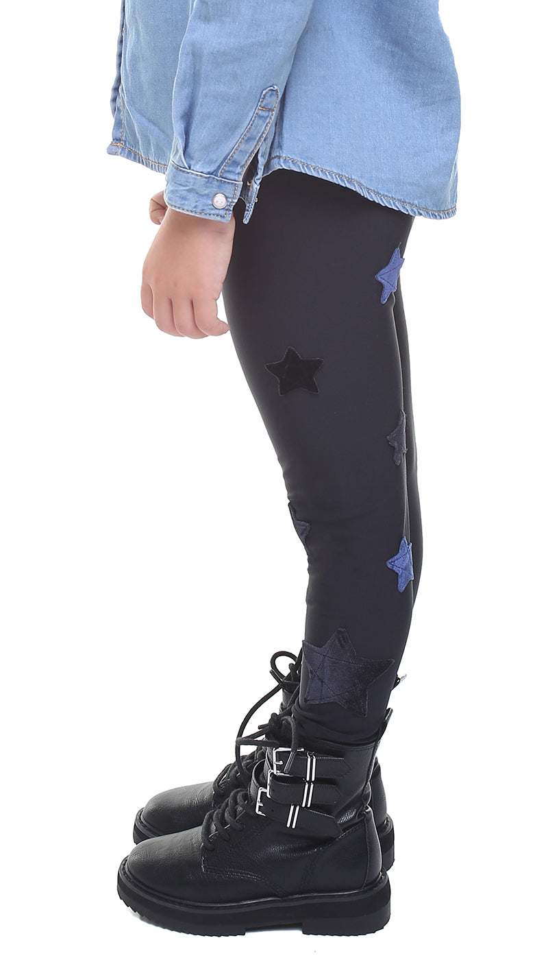 Leggings bambina in lycra neri con stelle applicate in velluto blu e in velluto nero