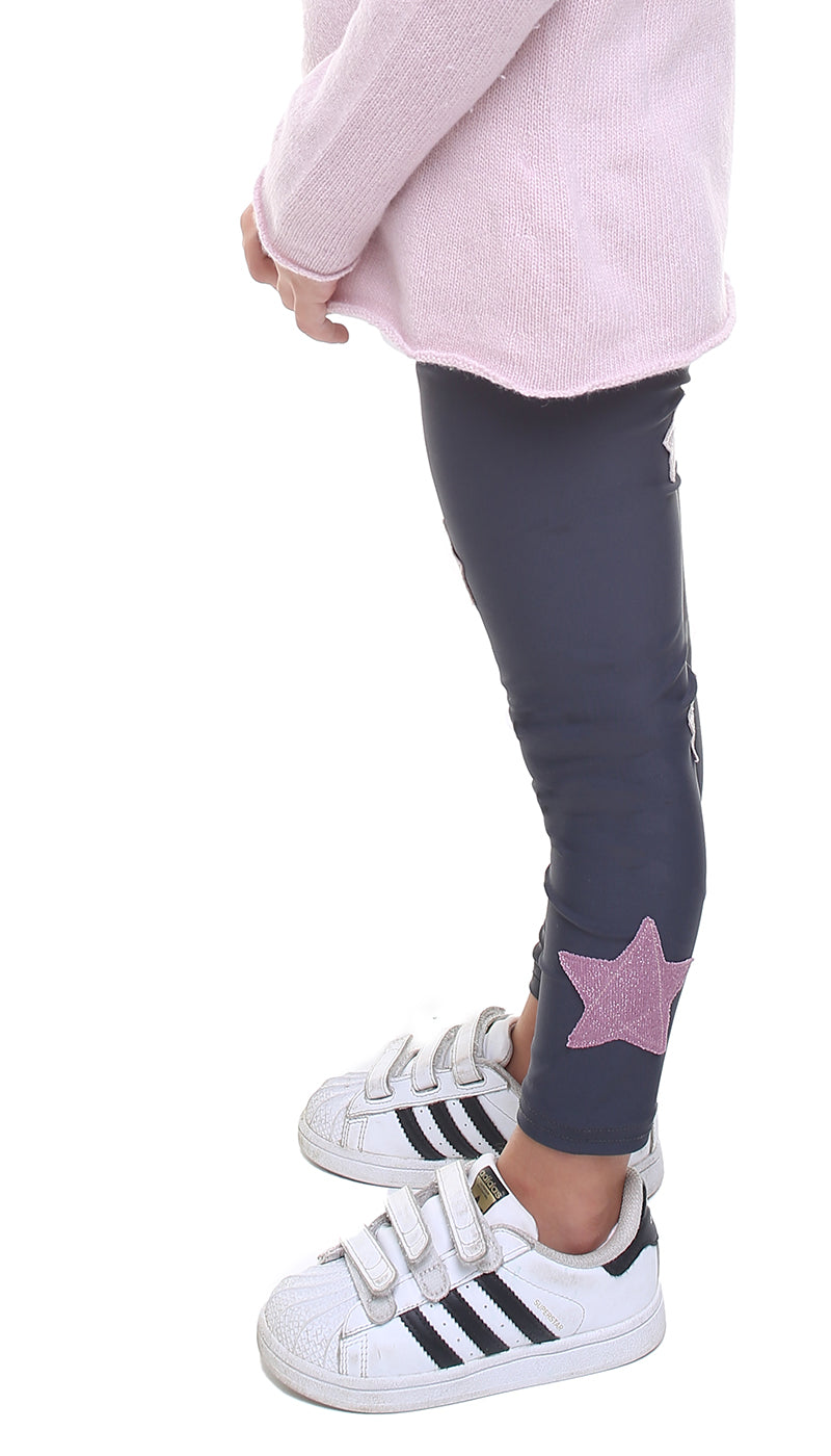 Leggings bambina in lycra grigio piombo con stelle applicate in velluto rosa e in lurex rosa