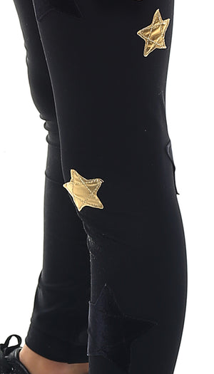 Leggings Bambina in lycra nero con stelle applicate oro e in velluto nero