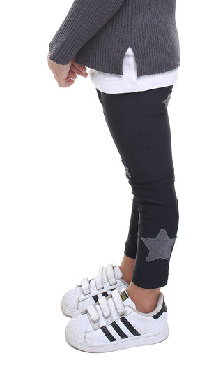 Leggings bambina in lycra neri con stelle applicate nere e in lurex grigio