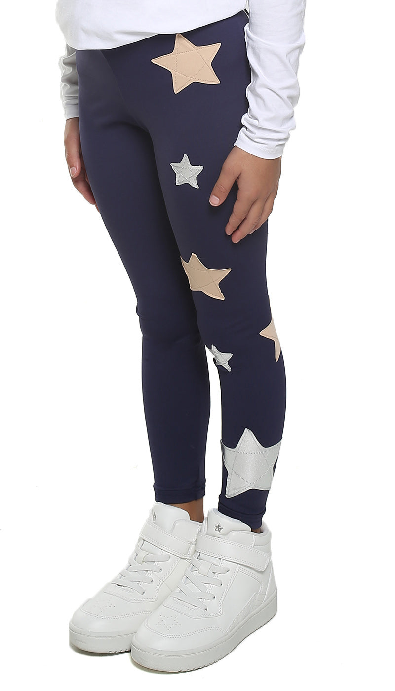 Leggings Bambina in lycra blu con stelle applicate rosa cipria e argento