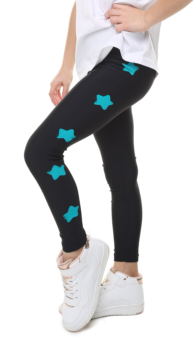 Leggings Bambina in lycra neri con stelle intagliate in lycra turchese