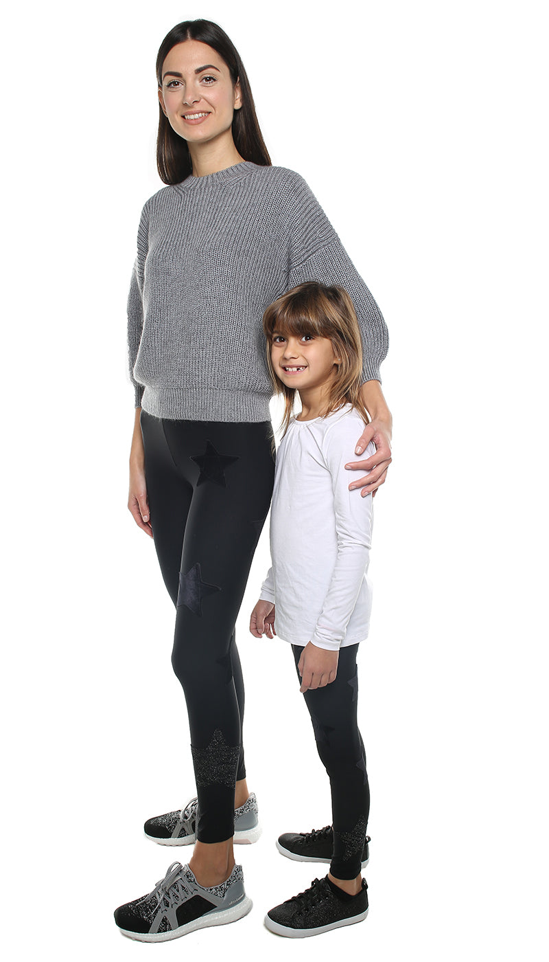 Leggings Bundle Donna e Bambina in lycra nero con stelle applicate di velluto nero e in lurex nero