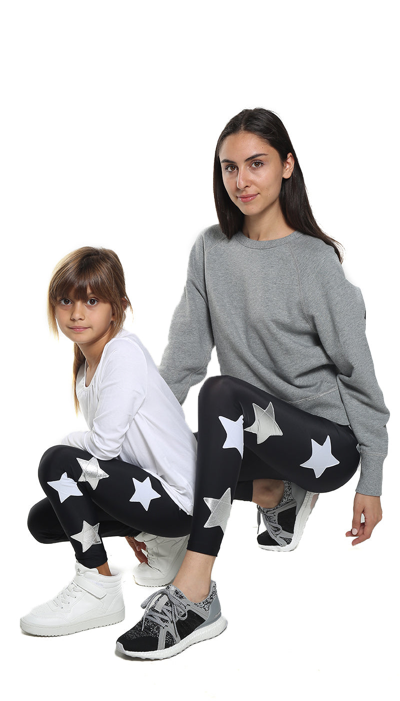 Leggings Bundle Donna e Bambina in lycra neri con stelle applicate bianche e argento