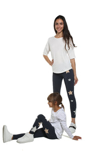 Leggings Bundle Donna e Bambina in lycra grigio con stelle applicate rosa cipria e argento