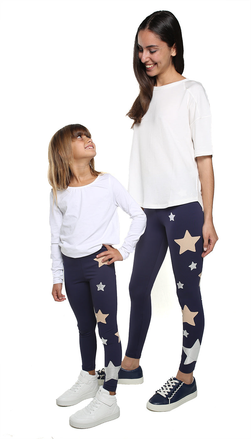 Leggings Bundle Donna e Bambina in lycra blu con stelle applicate rosa cipria e argento