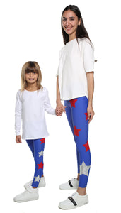 Leggings Bundle Donna e Bambina in lycra blu elettrico con stelle applicate rosse e argento
