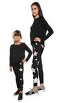 Leggings Bundle Donna e Bambina in lycra neri con stelle applicate rosa cipria e argento