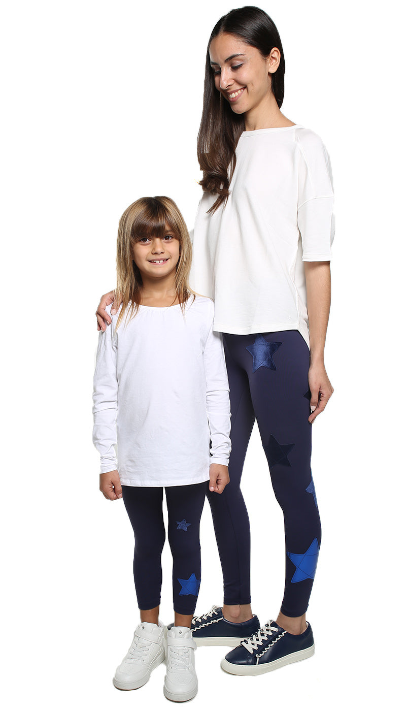 Leggings Bundle Donna e Bambina in lycra blu con stelle applicate in velluto blu e blu elettrico laminato