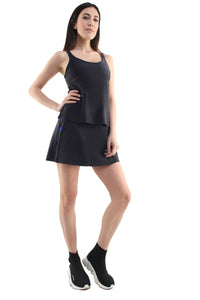 Canotta paddle in lycra nero con stella applicata bluette e top sportivo bluette