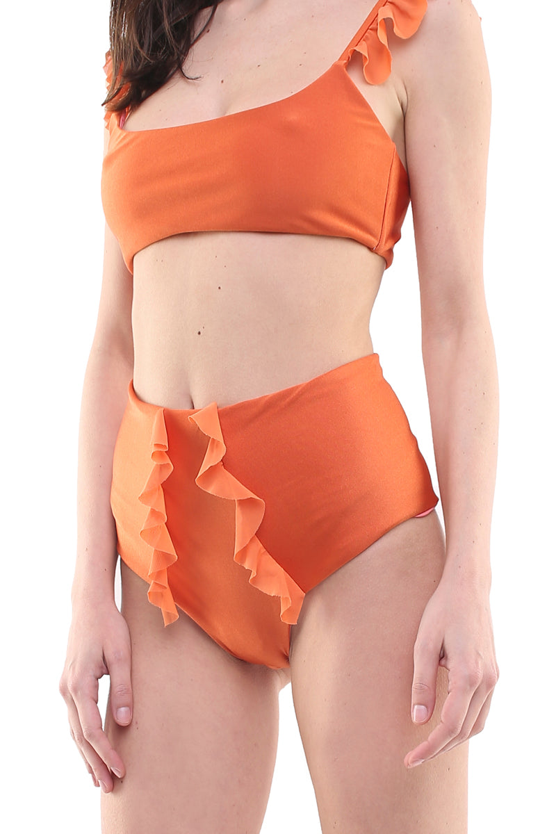 Bikini top con coppe estraibili e slip a vita alta in lycra ruggine e tulle ruggine