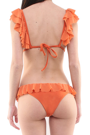 Bikini triangolo con coppe estraibili e slip in lycra ruggine e tulle ruggine