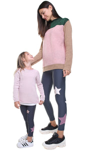 Leggings bundle donna e bambina in lycra grigio piombo con stelle applicate in velluto rosa e in lurex rosa