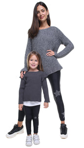Leggings bundle donna e bambina in lycra neri con stelle applicate nere e in lurex grigio